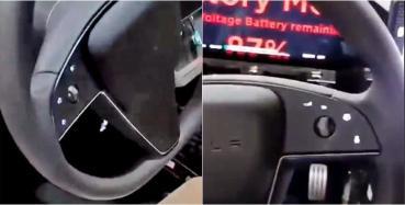 新款 Model S 實車被直擊:多功能方向盤、後座螢幕看光光