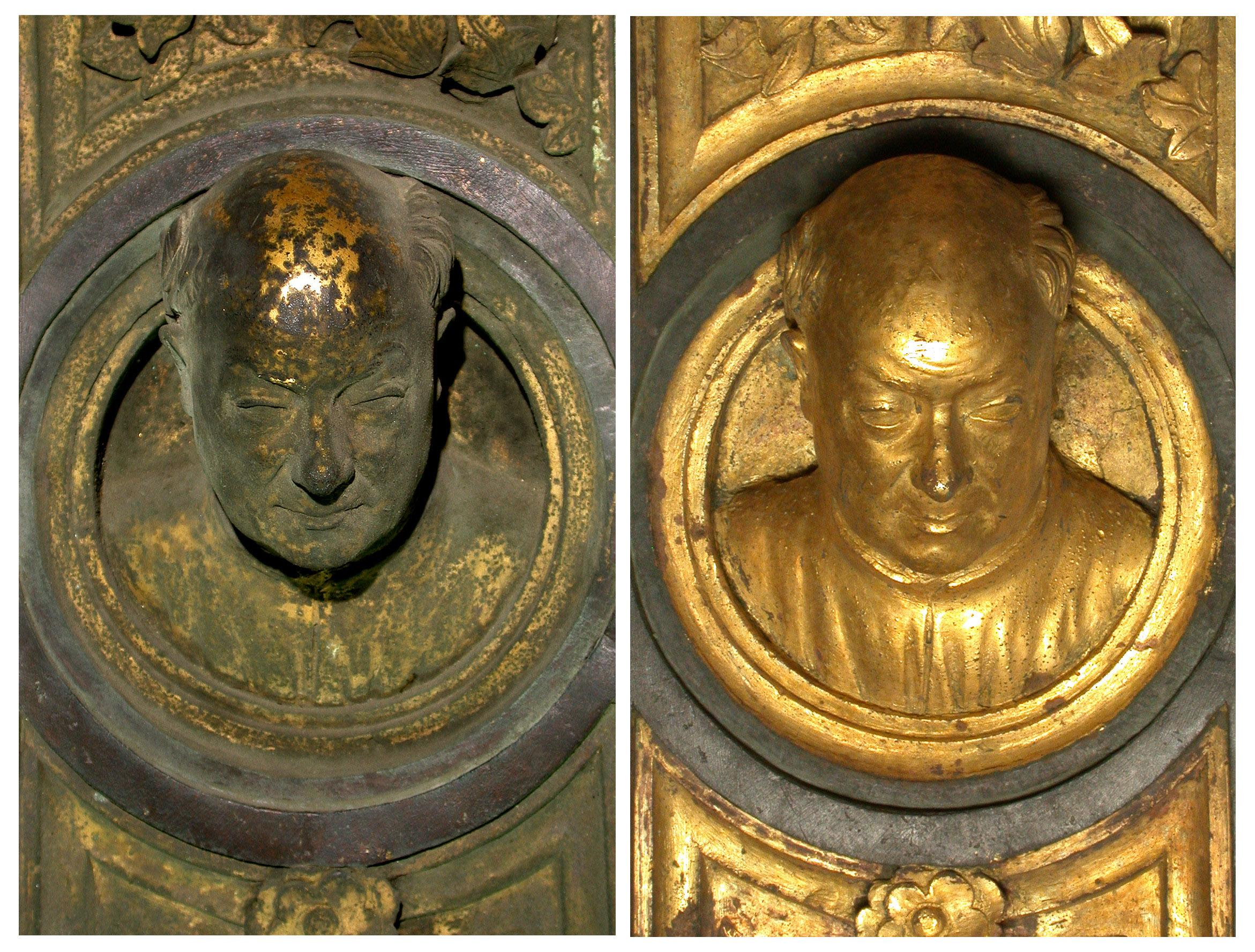 """In this undated photo provided by the Opera di Santa Maria del Fiore, Lorenzo Ghiberti's self portrait is seen on the original panel of the """"Door of Paradise"""" before and after 27 years of restoration in Florence, Italy. The original gilded bronze door, so splendid it was dubbed the """"Door of Paradise"""" by Michelangelo, will be seen again in Florence after 27 years of restoration to remove damage by pollution, vandalism and the wear and tear of centuries. But Lorenzo Ghiberti's 15th-century door won't be going back in its place on the baptistry of Florence's duomo, or cathedral. Starting in September, it will go on display in a Florence museum, Museo dell'Opera di Santa Maria del Fiore, to preserve it from renewed damage. (AP Photo/OPD Salvio, Opera di Santa Maria del Fiore)"""