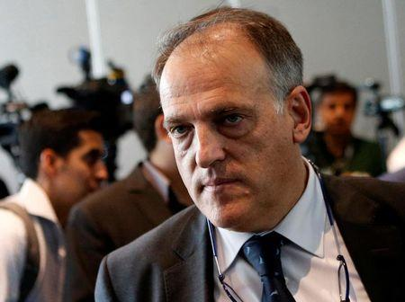 Spain's professional football league (LFP) president Javier Tebas, leaves following a news conference after attending the World Leagues Forum in Mexico City