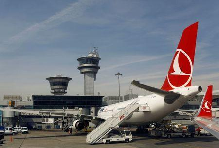 A Turkish Airlines (THY) aircraft is parked at Ataturk International airport in Istanbul