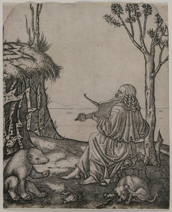 This engraving, created by Marcantonio Raimondi around 1505, may show Leonardo da Vinci playing an instrument called a lira da braccio. The man in the engraving was thought to be Orpheus, a musician in Greek mythology.