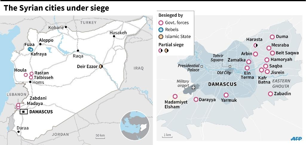 Map of Syria showing the Syrian cities under siege and by whom. (AFP Photo/Jonathan Jacobsen, Rana Moussaoui, Paz Pizarro)