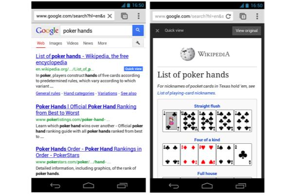 Google speeds up mobile web search, introduces expandable sitelinks and quick view badges