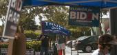 Supporters of Joe Biden and President Trump gathered outside a polling place in West Palm Beach, Fla. (Saul Martinez for The New York Times)