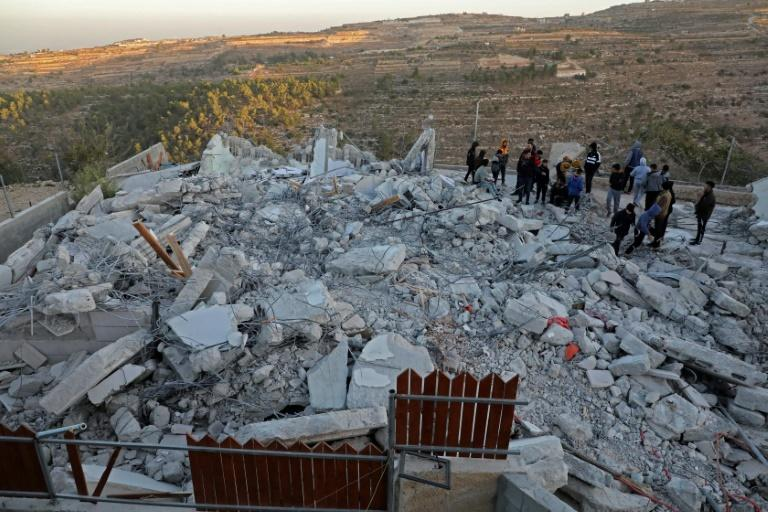 The debris of a home in the West Bank village of Beit Kahil after its demolition by Israeli authorities on November 28, 2019 (AFP Photo/HAZEM BADER)