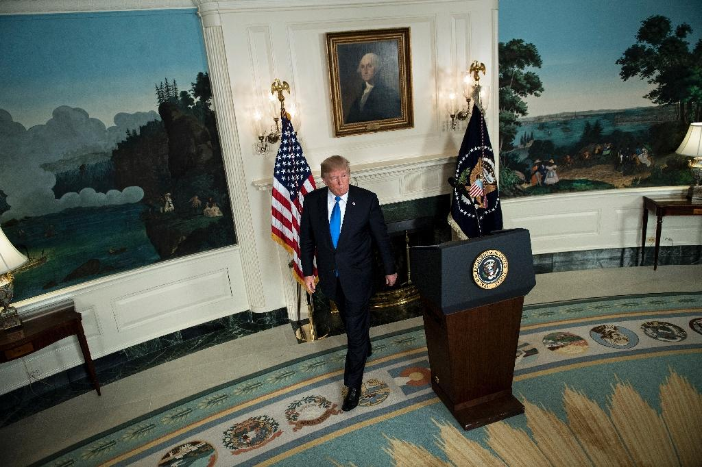 US President Donald Trump made his much-anticipated address on his new Iran strategy in the Diplomatic Reception room of the White House in Washington (AFP Photo/Brendan Smialowski)