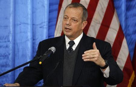 Retired U.S. General John Allen, special envoy for building the coalition against Islamic State, speaks to the media during a news conference at the U.S. embassy in Baghdad
