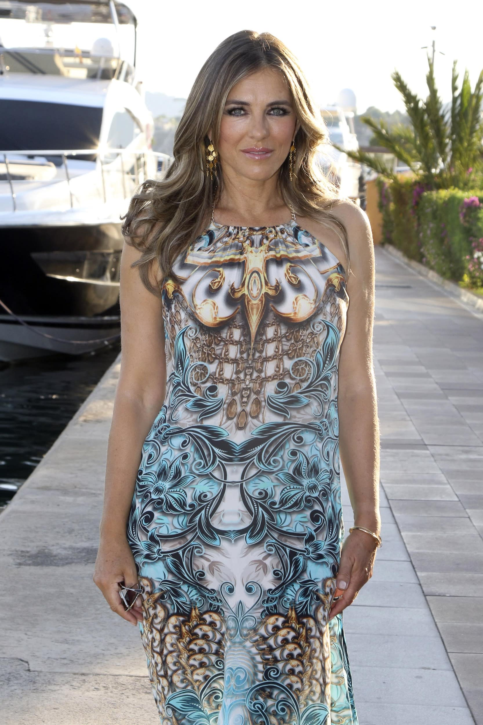 PALMA DE MALLORCA, SPAIN - JULY 25:  Elisabeth Hurley attends the opening of her pop-up shop at Puerto Portals and present her new 'Elizabeth Hurley Beach' collection on July 25, 2018 in Palma de Mallorca, Spain.  (Photo by Europa Press/Europa Press via Getty Images)