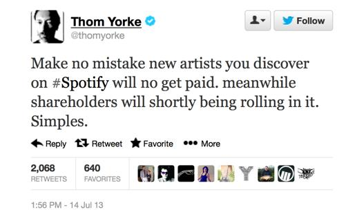 Thom Yorke pulls recent tracks from Spotify in protest against low pay for new artists