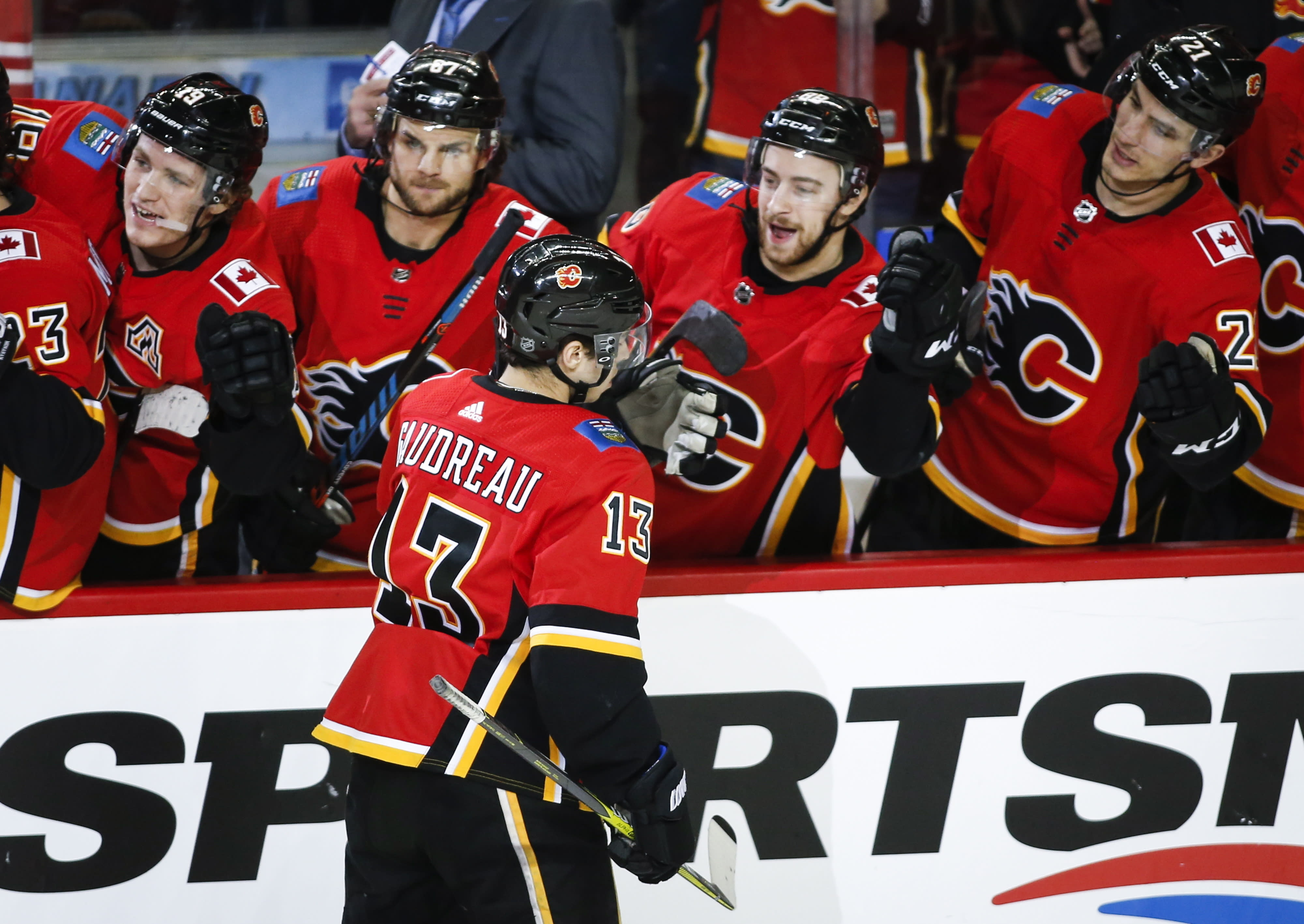new product 2f6ff b5571 Johnny Gaudreau has 6 points as Flames scorch Devils 9-4