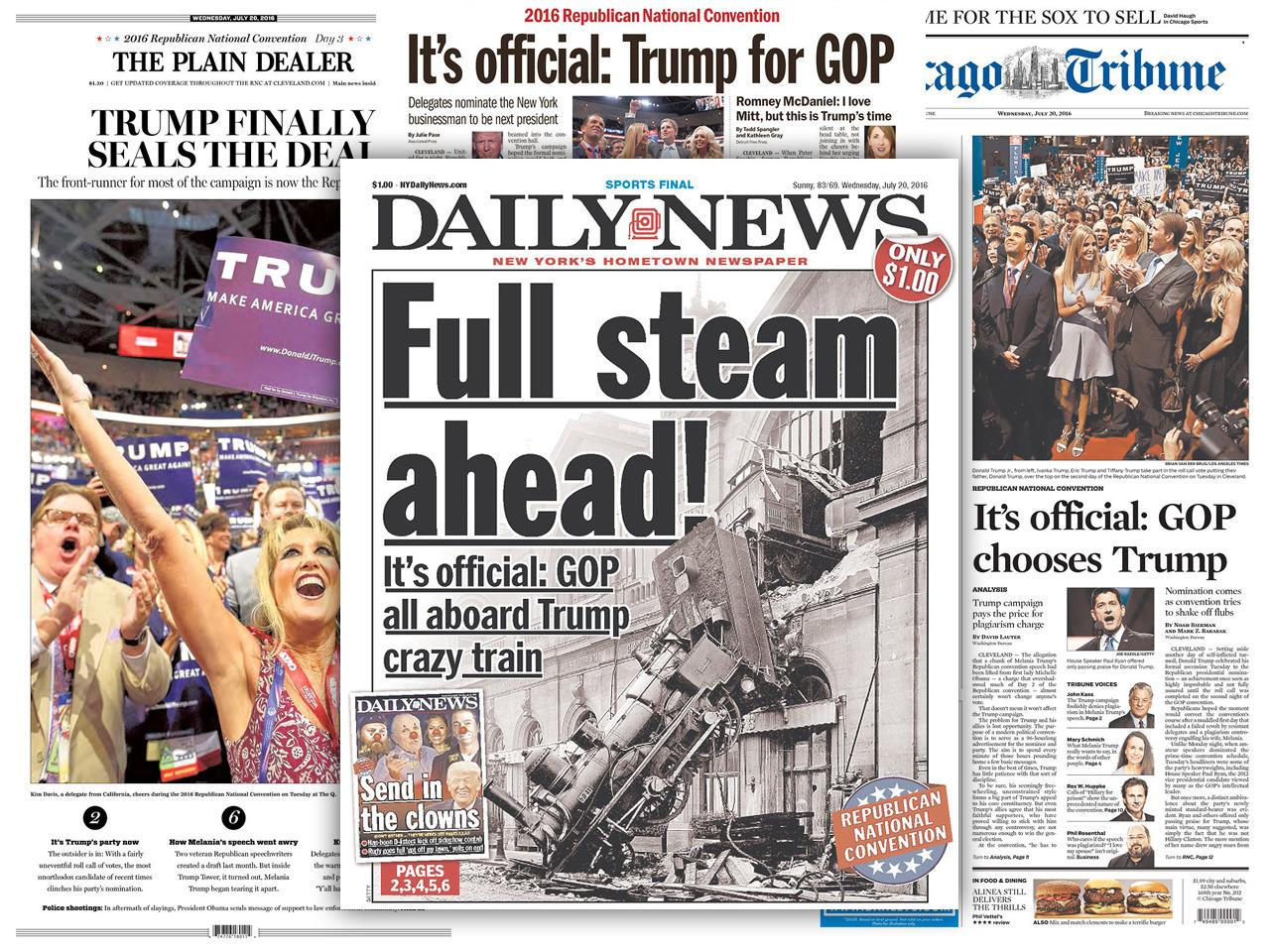 "<p>""All aboard the Trump crazy train,"" declared the Daily News, a newspaper long critical of Trump. (newsmuseum.org)</p>"
