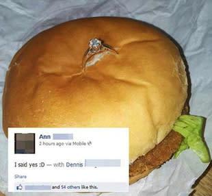 Worst proposal ever Ring inside chicken sandwichand it goes viral