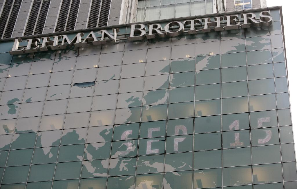 Lehman Brothers' headquarters in New York on September 15, 2008, the day the Wall Street titan fell