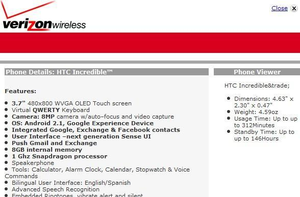 Droid Incredible specs confirmed on Verizon site
