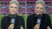 Sideline reporter's response to painful mishap goes viral