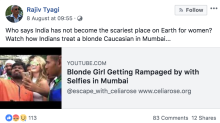 Australian girl trolled for clicking selfies with Indian men in Mumbai