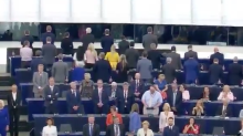 Brexit Party MEPs turn their backs while 'European anthem' played at parliament's opening session