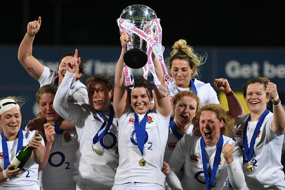 Captain Sarah Hunter and the England players celebrate Grand Slam glory: Shaun Botterill/Getty Images