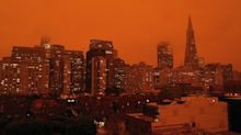 Orange SF sky looks eerie in drone video