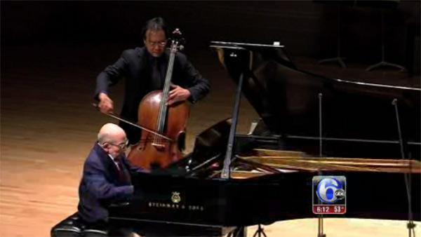 Holocaust survivor from Newtown Square plays with Yo-Yo-Ma