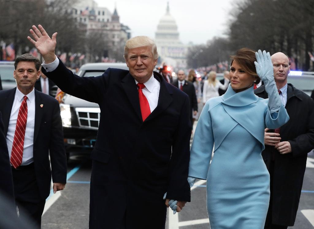 For her husband's swearing-in ceremony First Lady Melania Trump donned a custom-made power blue suit from US fashion royalty Ralph Lauren (AFP Photo/Evan Vucci)