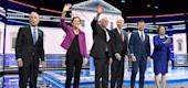 Democratic presidential candidates Mike Bloomberg, Elizabeth Warren, Bernie Sanders, Joe Biden, Pete Buttigieg and Amy Klobuchar. (Getty Images)