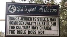 Community protests anti-LGBTQ church sign that reads 'Bruce Jenner is still a man'