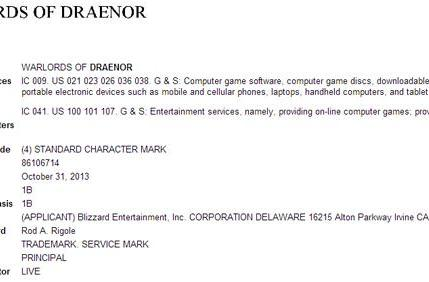 Warlords of Draenor trademark registered in US and Europe