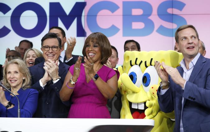 NEW YORK, NEW YORK - DECEMBER 05: (L_R) Sherri Redstone, Stephen Colbert, Gayle King and Nelson Griggs attend as  ViacomCBS Inc. rings the opening bell at NASDAQ on December 05, 2019 in New York City. (Photo by John Lamparski/Getty Images)