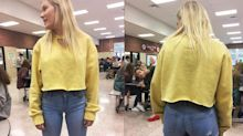 Student's dress code violation: cleavage and 'excessive midriff' — in a sweatshirt