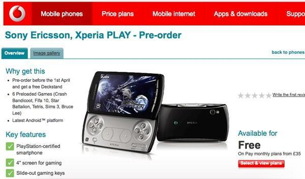 Vodafone UK posts pre-order page for Sony Ericsson Xperia Play