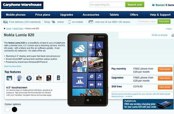 Nokia Lumia 820 up for UK pre-order: free on contract or £380 sim-less, wireless charger thrown in