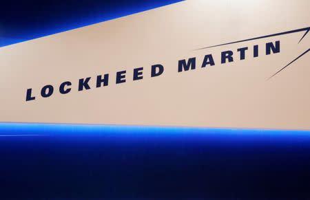 Lockheed Martin's logo is seen during Japan Aerospace 2016 air show in Tokyo