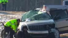Five children not wearing seat belts die in minivan crash but two adults survive