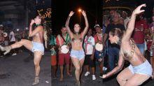 Paolla Oliveira chama atenção coberta de lantejoula em ensaio de Carnaval