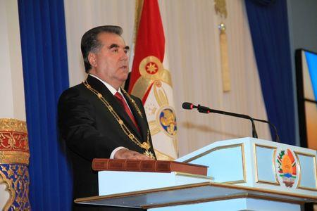 Tajikistan's President Rakhmon takes oath during his inauguration ceremony in Dushanbe