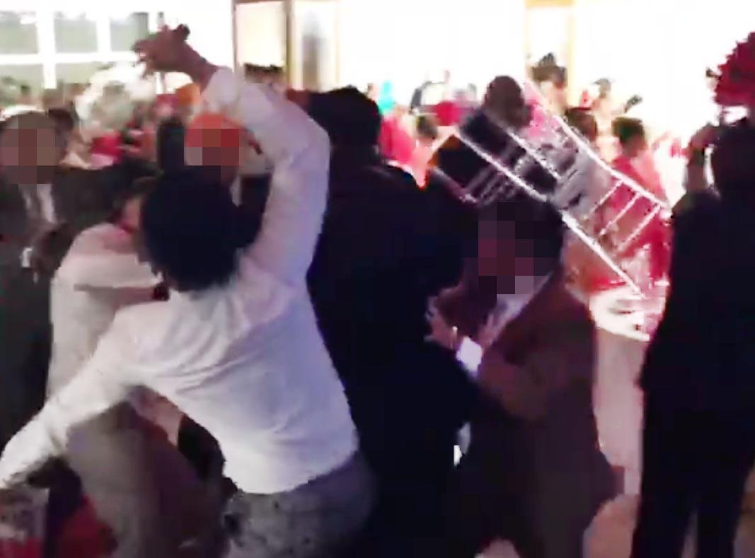 Violent brawl breaks out at wedding party as four people are taken to hospital