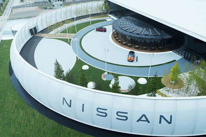 Nissan Pavilion with electric cars charging