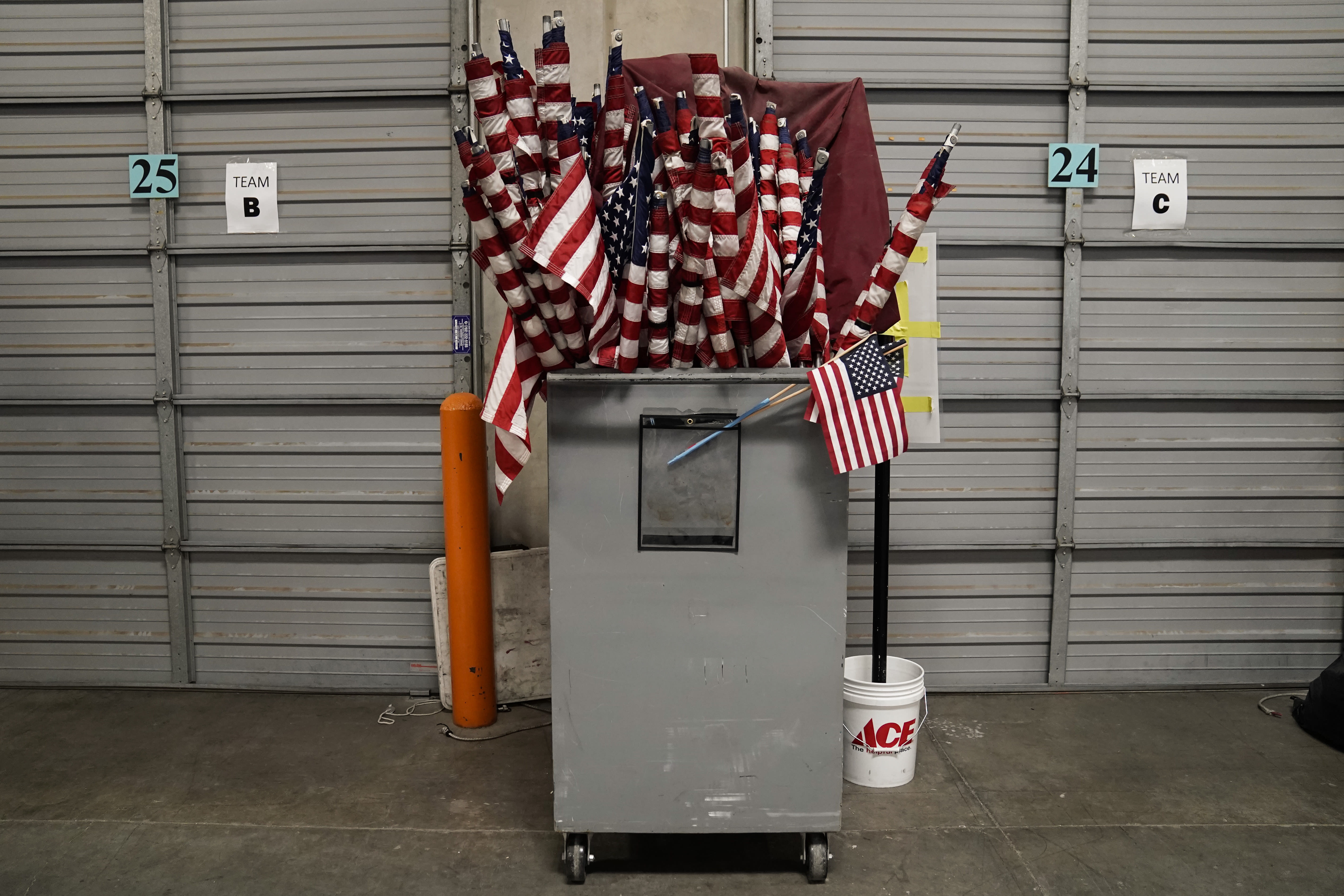 American flags used on Election Day are stored at the Clark County Election Department in North Las Vegas, Nev., Friday, Nov. 6, 2020. (AP Photo/Jae C. Hong)