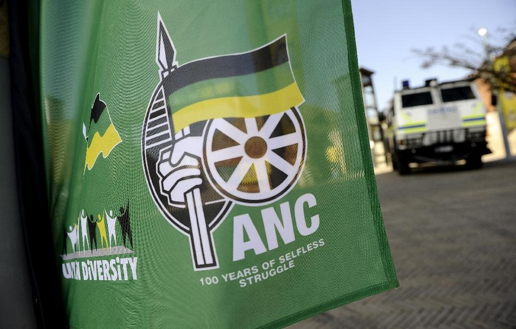 A flag displaying the ruling African National Congress' (ANC) logo (R) pictured during the run-up to the party's 100th anniversary celebrations on July 15, 2011 in Johannesburg