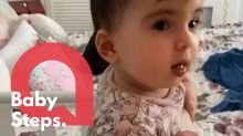 A baby with bones so brittle a sneeze can break her back stands up on her own two feet for the very first time