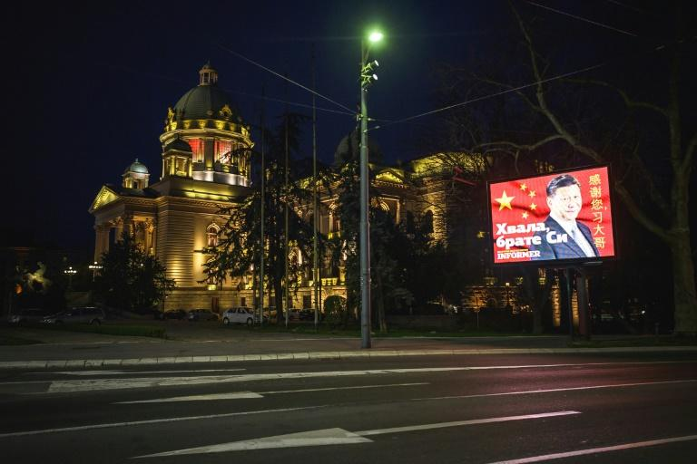 Serbia's President Aleksandar Vucic has been full of praise for the Chinese, and Belgrade's streets now have notices thanking for their help (AFP Photo/Andrej ISAKOVIC)