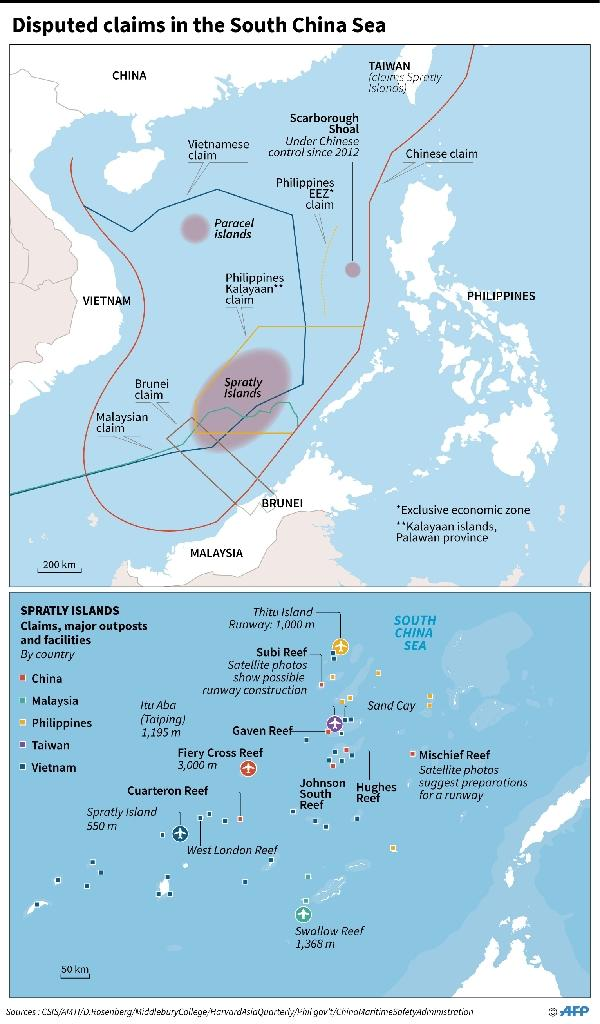 Map showing disputed claims in the South China Sea, including major outposts and facilities in the Spratly Islands (AFP Photo/-, -)