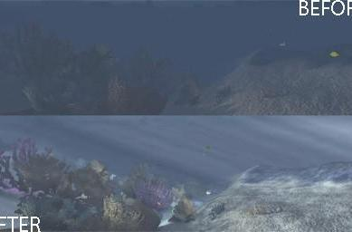 Before and after images of Age of Conan's DirectX 10 support