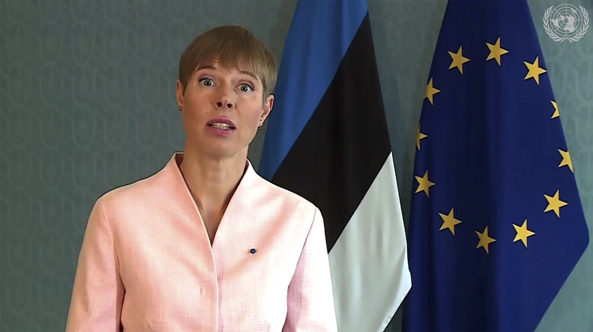 In this image made from UNTV video, Kersti Kaljulaid, President of Estonia, speaks in a pre-recorded message which was played during the 75th session of the United Nations General Assembly, Thursday Sept. 24, 2020, at UN headquarters, in New York. (UNTV via AP)