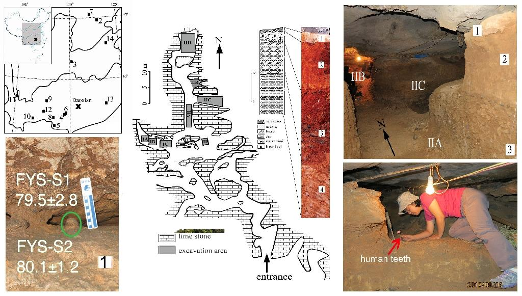 "This image provided by ""Nature"" shows the location and interior views of the Fuyan Cave, with dating sample (lower left), plan view of the excavation area with stratigraphy layer marked (C) and the spatial relationship of the excavated regions (AFP Photo/Y-J Cai, X-X Yang, and X-J Wu)"