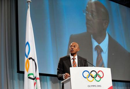 FILE PHOTO: International Olympic Committee (IOC) member Namibian former sprinter Fredericks speaks at the second part of the 121st International Olympic Committee session in the Bella Center in Copenhagen