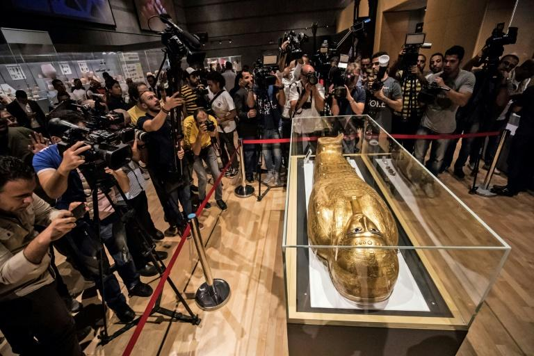 The Golden                                  Coffin of Nedjemankh, on display at the                                  National Museum of Egyptian Civilization                                  in Cairo, after its repatriation from                                  the US