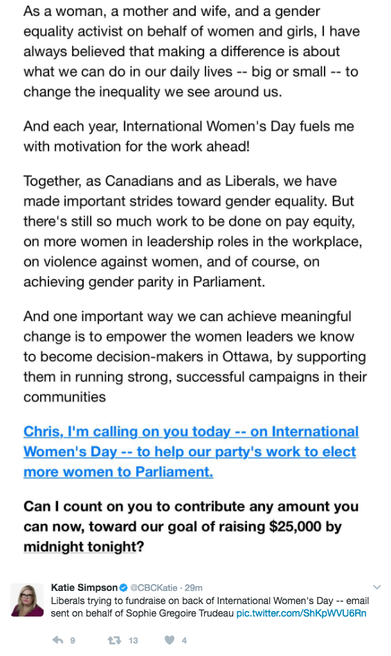 <p>After drawing criticism from all sides online for her Instagram post celebrating men, an email from the Liberal Party of Canada, signed off by Sophie Gregoire Trudeau, was sent out to supporters, apparently using International Women's Day as a tool to solicit party donations. Photo from Twitter </p>