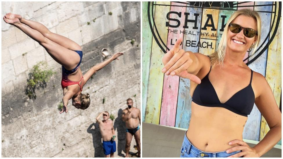 Cliff diver's near miss after slamming into the water at 80km/h
